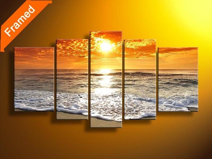 Fairy natuurlijke strand zonsondergang olieverf mooie landschap landschap canvas schilderkunst voor woonkamer