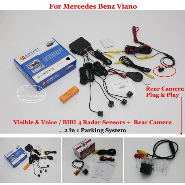 For Mercedes Benz V Class / Viano Car Parking Sensors + Rear View Camera = 2 in 1 Visual / Alarm Parking System