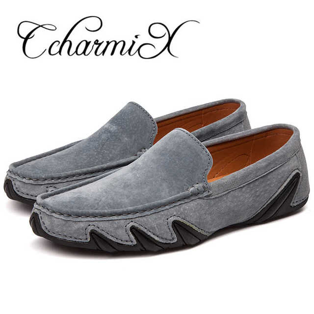 CcharmiX Summer Walking Breathable Casual Shoes New Fashion Moccasins Men Loafers Suede Leather Mens Driving Boat Shoes Big Size 4
