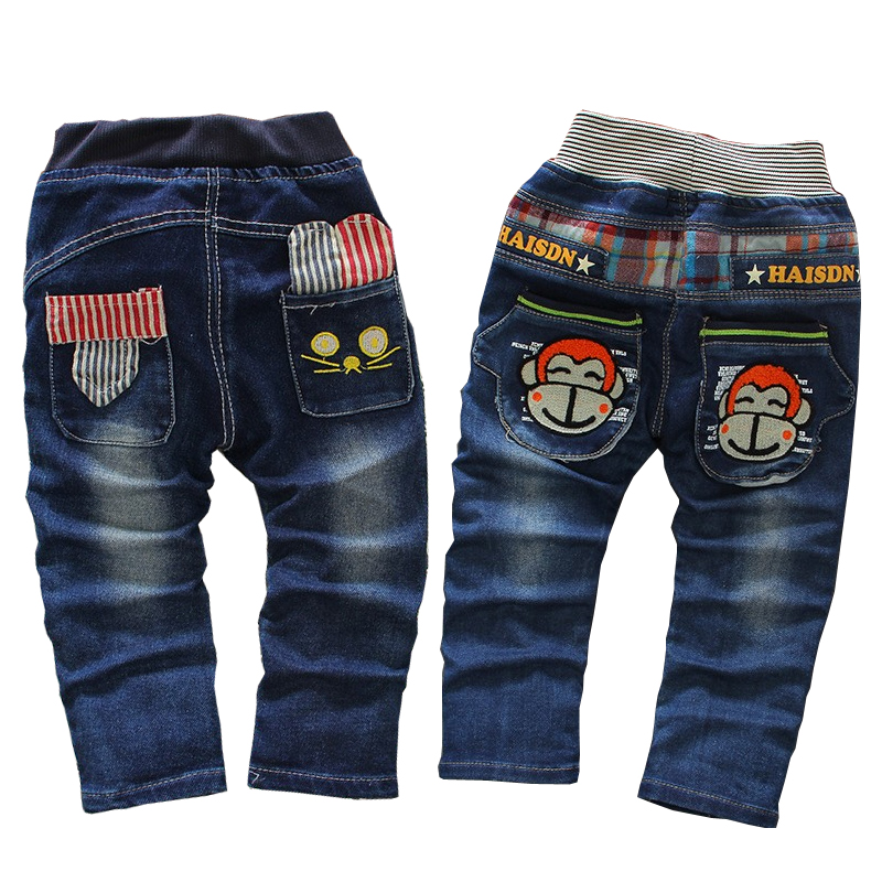 Free shipping 2019 spring autumn boys cotton Cartoon jeans,cool boy pants, children's clothing, child denim trousers 1-4 years