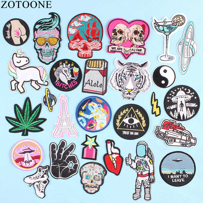 ZOTOONE UFO Ruimte Skull Tiger Patch Ijzer op Sew Op Applique Badge Motorfiets Goedkope Biker Geborduurde Patches Voor Kleding Sticker