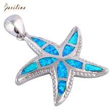 Nouvelle Déclaration Étoiles 925 Sterling Silver Overlay Bleu Opale de Feu pendentifs Mode Bijoux P254