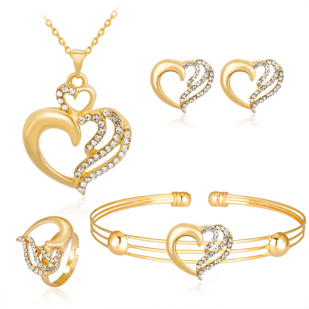 HC Classic Gold Color Girl Party Jewelry Sets Heart Crystal 4 Pcs Necklace Bracelet Rings Kids Jewelry Set Children's Day Gift T