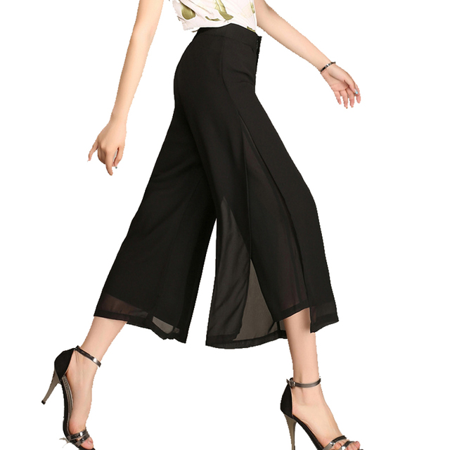 Summer Women Cropped Capris Plus Size(L-5XL 100Kg)Trousers Black Orange CHIFFON Wide Leg Pants Pantalon Femme Calcas femininas
