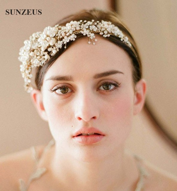 High Quality Wedding Crystal Accesories Hand Made Gold Pearls Bridal Headpiece Strass Et Perles De Mariee SQ043
