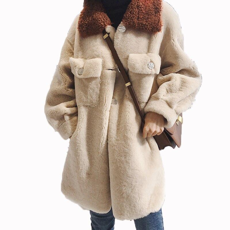 Coréenne Réel Manteau De Fourrure Vintage 100% Laine Manteau Automne Hiver Veste Femmes Vêtements 2018 Moutons Fourrure En Peau De Mouton Femelle Tops ZT1270