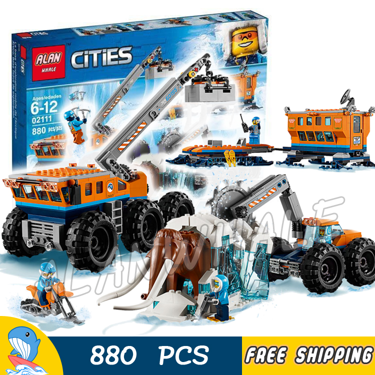 880pcs City Arctic Mobile Exploration Base Mobile lab Frozen Mammoth 02111 Model Building Blocks Toy Bricks Compatible With lego big bricks building blocks base plate 51 25 5cm 32 16 dots baseplate diy bricks toy compatible with major brand blocks