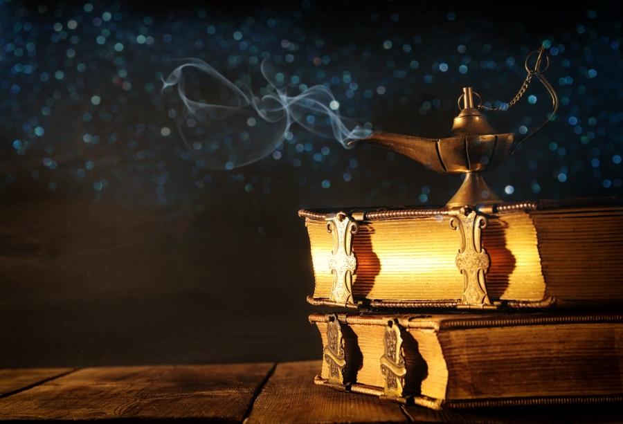 Laeacco Aladdins Lamp Magical Books Light Bokeh Photography Backgrounds Customized Photographic Backdrops For Photo Studio