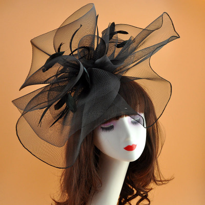 Vintage Bridal Flower Feather Hats Elegant Wedding Accessories Bride Net Hats White Fascinator Hats Women's Formal Occasion