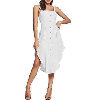 895fd71c1a8 Недавно Лето Для женщин Повседневное Однобортный Slash шеи кнопку сарафан без  Рукавов Пляжная одежда женские вечерние платье-рубашка