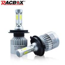Racbox S2 автомобиля светодиодный фар лампа Глобусы H1 H3 H7 H11 9005 9006 HB3 HB4 H4 H13 9004 9007 привет Низкий Белый 72 Вт 12 В 24 В авто свет