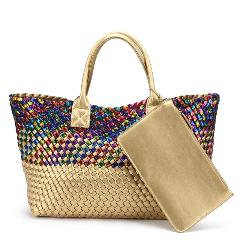 Fashion European and American Style Snakeskin Woven Leather Handbag Rainbow with Gold Totes Ladies Large Capacity