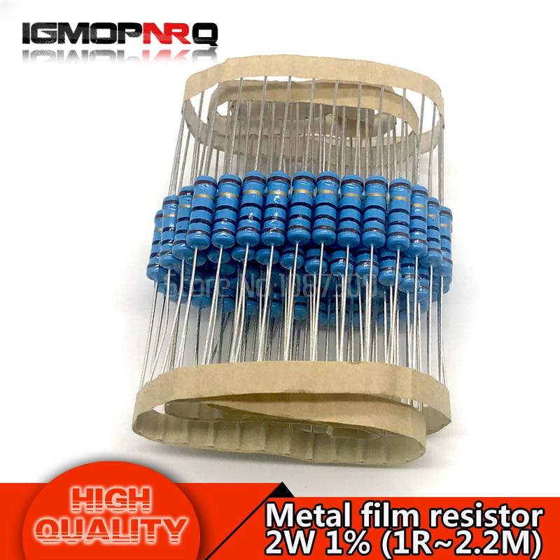 20pcs 2W Metal film resistor resistance 1% 1R 2.2M 4.7R 10R 22R 47R 100R 220R 560R 1K 10K 100K 2.2 10 22 47 100 220 470 1M ohm 100pcs 1210 220r 220 ohm 5