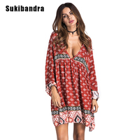 Sukibandra Autumn Long Sleeve Vintage Women Printed Short Dress Sexy Deep V Neck Boho Chic Bohemian