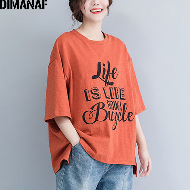DIMANAF Plus Size Women T-Shirts Basic Lady Tops Tees Big Size Cotton Tunic Loose Casual Female Clothes Print Shirts 2019 Summer
