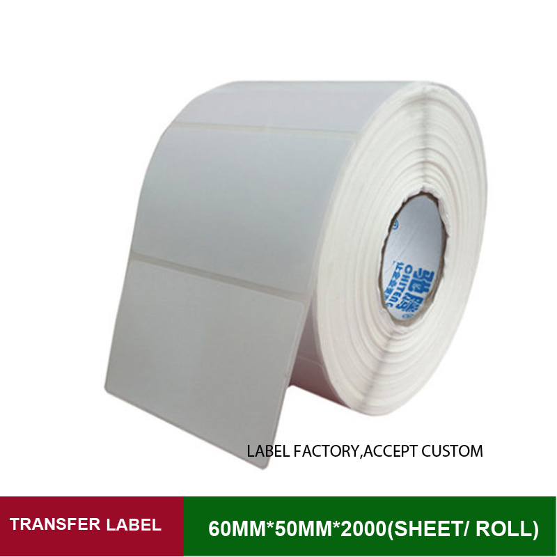 60*50mm 2000 sheets per roll single row thermal transfer adhesive paper can customize use sticker printer empty shipping label