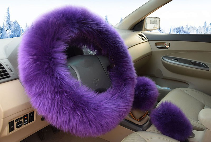 Winter Warm Wool Handbrake Cover Gear Shift Cover Steering Wheel Cover 38cm diameter 1 Set 3 Pcs 12