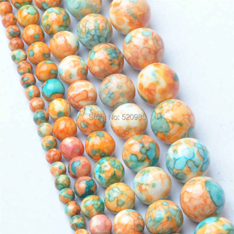 Free Shipping Natural Yellow Blue Dots Rainbow Stones Round Spacer Loose Beads For Necklace Bracelet Charms Jewelry RBSB06
