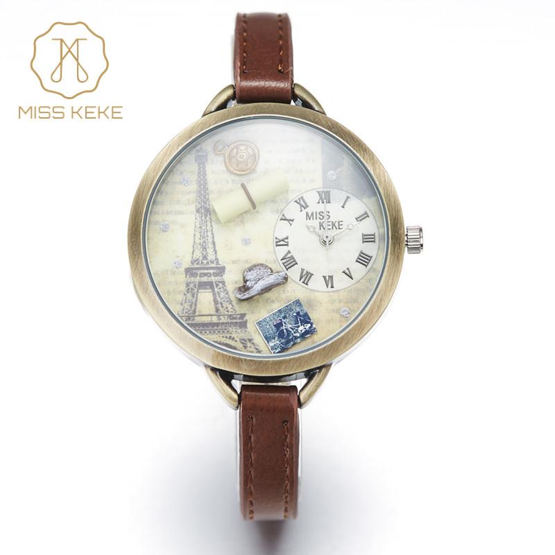 Prix pour Miss keke 3d argile mignon mini monde tour eiffel bracelet montres vintage rétro dames femmes quartz en cuir montres 1038