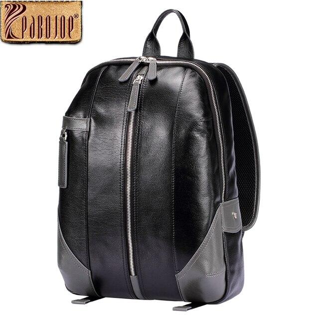 Pabojoe Women Mens Vintage Backpack 100% Genuine Leather Laptop Travel Holder 14inch 15.6inch Computer School Bags