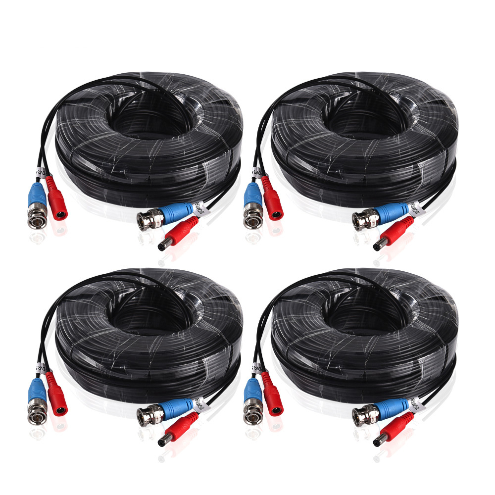SANNCE 4PCS a Lot 30M 100 Feet BNC Video Power Cable For CCTV AHD Camera DVR Security System Black Surveillance Accessories mool 100 feet pre made siamese bnc video and power cable ready to go for security camera cctv systems