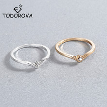 Todorova New Fashion Geometric Jewelry V Chevron Unique Design Inlaid Rhinestones Crystal Rings for Women Wholesale Dropshipping