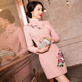 Free Shipping New Arrival Pink Chinese Traditional Women's Embroider Mini Cheong-sam Dress S M L XL XXL