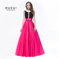 Real Photos Rose Red Color Crystal Deep V Neck Prom Ball Gown Formal Long Evening Dress