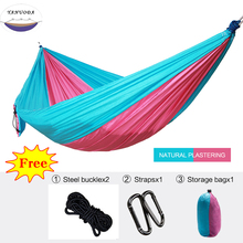 Купить с кэшбэком Outdoor Portable Backpack Rope Swing Hammock Light Weight Nylon Fabric for Garden Leisure Travel Camping Furniture