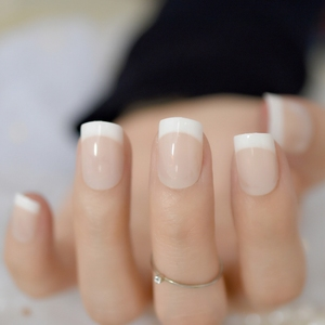 Image 5 - Nude Natural White French Fake Nails Tips Acrylic UV False Nails Press on DIY Manicure Salon Stickers Artificial Nail Tip