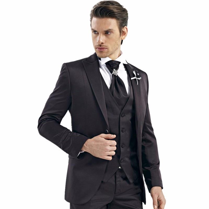 Handsome Black Men Suit Slim Fit Man Bridegroom Wedding Prom Suits Noivo Smoking Gentlemen