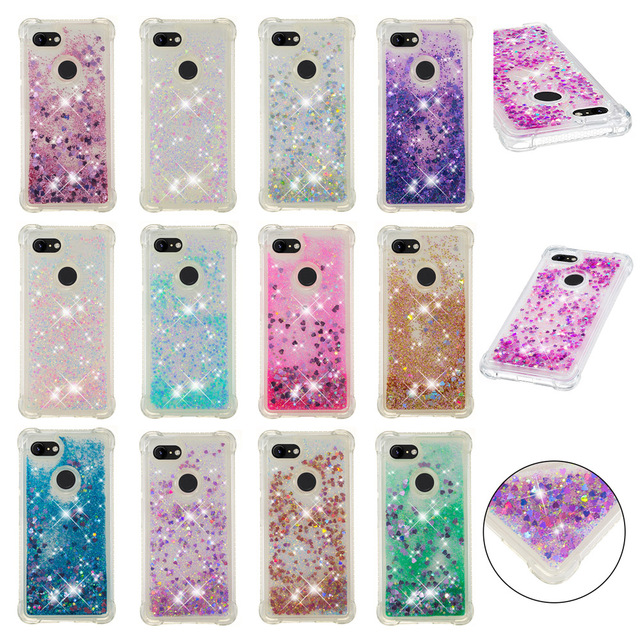 half off edec0 7fc07 US $3.85 8% OFF|HYYGEDeal Phone cases For Google Pixel 3 Cute Glitters  Girls Bling liquid Quicksand TPU Shockproof case cover for Pixel 3 XL-in  Fitted ...