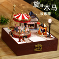 The carousel ornaments boutique DIY Music Box, wooden music box Christmas gift and friends