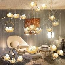 Led Bird Nest Modern Gold Ceiling Chandelier Vintage Oriental Industrial Nordic Lustre Lamp For Living Room Pendant Birds Lights