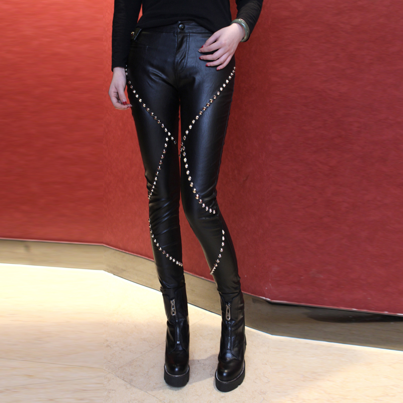 Leather Pants Regular 2017 Limited New Faux Leather Women Pants Pantalones Mujer American And Punk Rivet Pu Tight Slim Slender