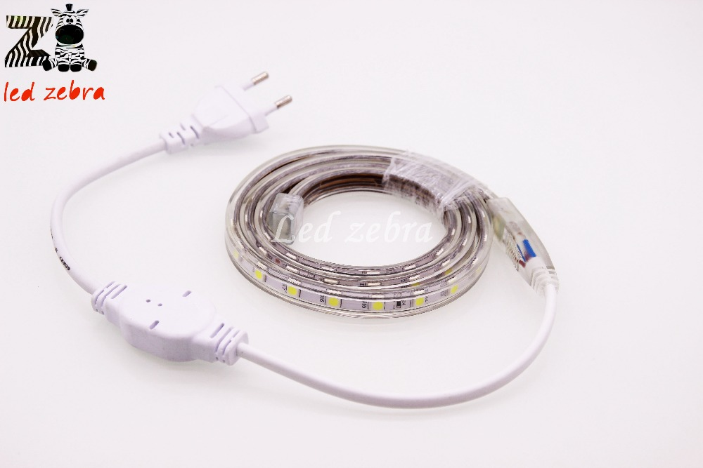 5050 SMD AC 220V Led Strip,60Led/m Waterproof Led Light With Plug,1m/2m/3m/4m/5m/10m/20m Home Decoration Led Lamps Six Color Opt