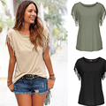 Fashion Summer t shirt short sleeve plus size Casual Tops Tassel Tops & Tees women clothing femme blusa feminino XD3839
