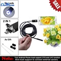 Black/Gold 2 in 1  7mm Lens 6 LED Android USB Waterproof Endoscope Camera Borescope Inspection Camera with 10m Length Cable