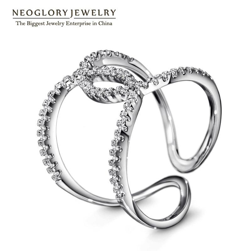 Neoglory Charm Cross Finger Rings for Women Rhinestone Charm Design Romantic Party Jewelry 2018 New Wedding RI2