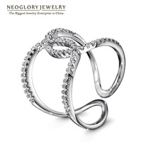 PreSale Neoglory Platinum Plated Charm Cross Finger Rings For Women Rhinestone Charm Design Romantic Party Gift