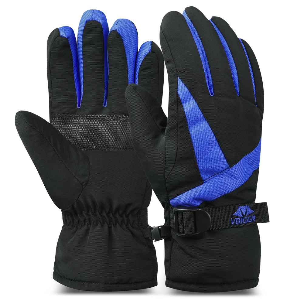 Women Men Gloves Waterproof Thick Cuffed Skiing Gloves Flocking Lining Winter Warm Sports Outdoors Driving Gloves Mittens