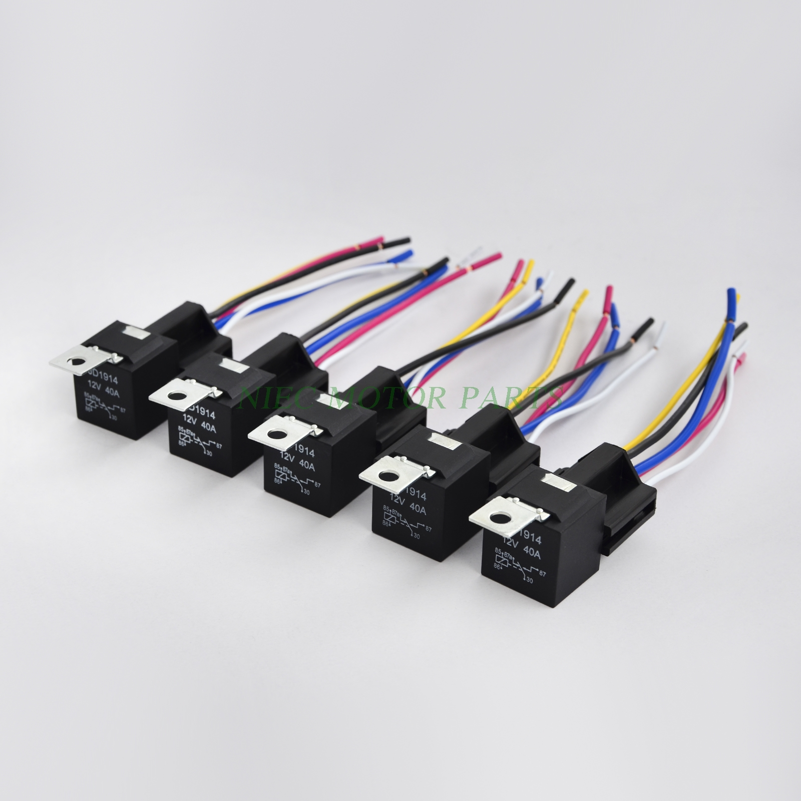 12V 30 40 AMP SPDT Automotive Relay with Wires Harness Socket 5 pack 12v 30 40 amp 5 wire diagram for air conditioner fan motor