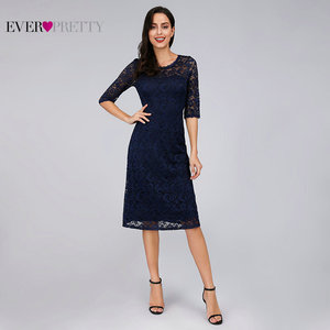 Image 5 - Navy Blue Lace Cocktail Dresses Ever Pretty EZ07665NB See Through Half Sleeves Knee Length vestidos mujer 2020 cocktail Elegant