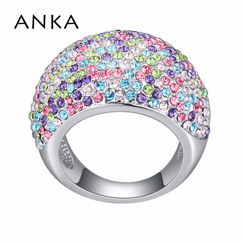 celý křišťálový prsten trendy pro ženy Channel Setting Party šperky jemné leštěné zrcadlo s povrchovou úpravou Rhodium # 114545