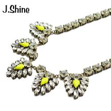 JShine Popular Brand Clear Glass Statement Necklace Women Antique Gold Color Crystal Chain Brand Jewelry Necklaces Pendants(China)