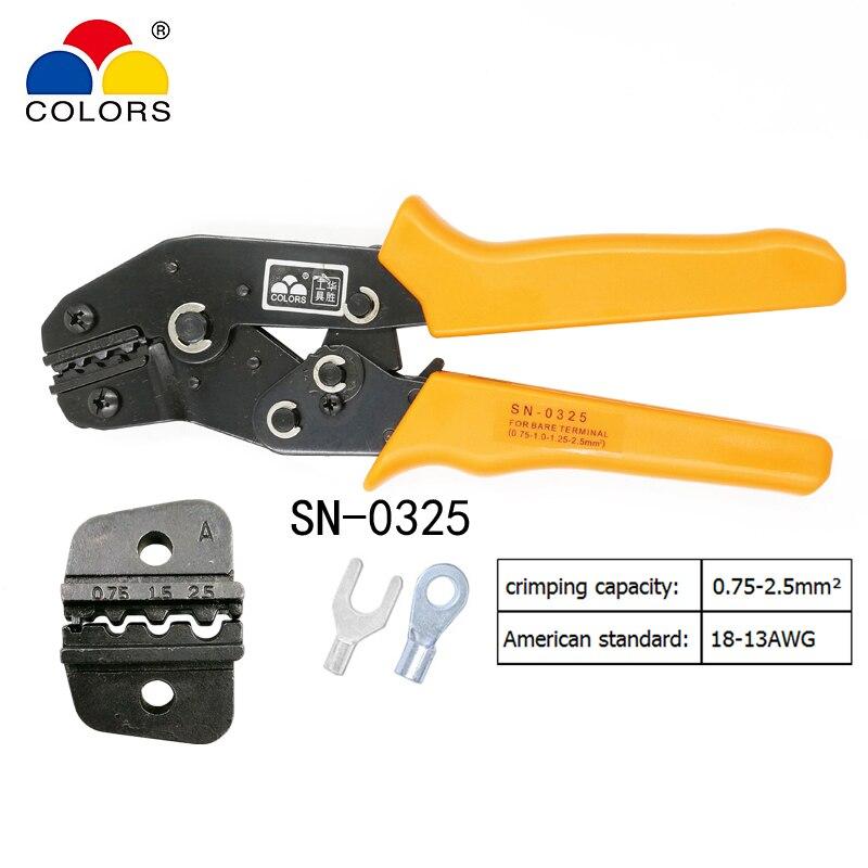 Kraftvoll Farben Sn-0325 Crimpen Zange Für Nicht Isolierte Terminal Clamp Selbst-anpassung Kapazität 0,75-2.5mm2 18-13awg Marke Hand Werkzeuge Handwerkzeuge Werkzeuge