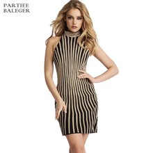 304aee3218 2018 New Arrival Elegant Fashion Sexy Sleeveless Golden Striped Turtleneck  Above Knee Celebrity Party Club Wear Bandage Dress
