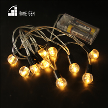 10pcs LED string light 2AA Battery Powered transparent balls Christmas LIGHT Fairy String for Holiday Wedding Party Deration