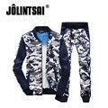 Jolintsai Camouflage Men Sportwear Spring 2017 Military Tracksuit Casual Sportswear Plus Size SweatSuit Hoodie Pant set