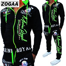ZOGAA New 8color Mens Fashion Two-piece Casual Sportswear Hooded Sweatshirt and Pants Suit Letter Printed 3xl